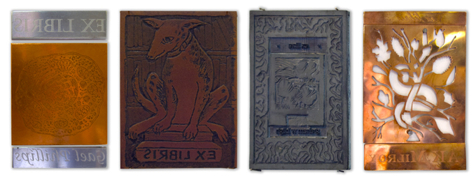 Some of the 'Bookplates Unbound' printing plates   Photo:Doug Spowart