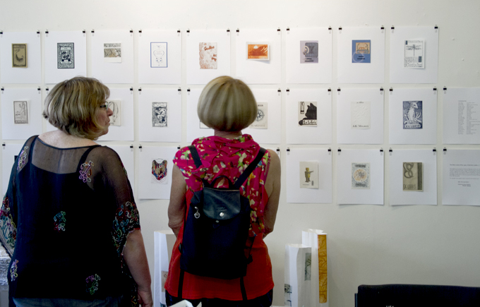'Bookplates Unbound' wall @ The Studio West End   Photo: Doug Spowart