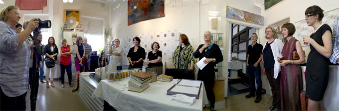 Helen Cole opens the Studio West End artists book show   Photo: Doug Spowart