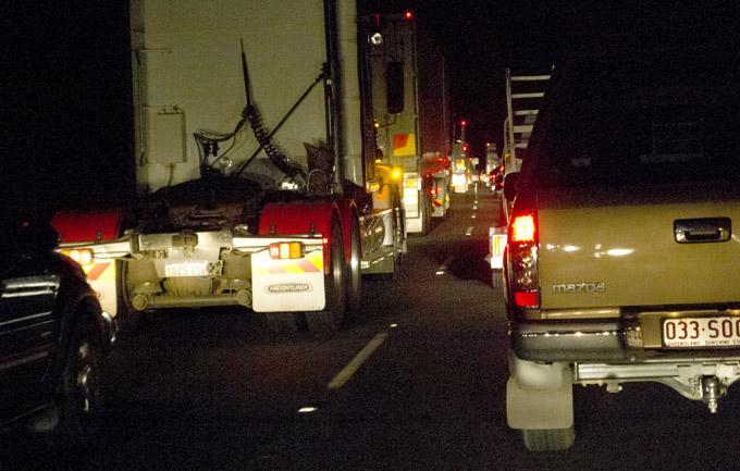Traffic jam after truck breakdown - Toowoomba Range  Photo: Victoria Cooper