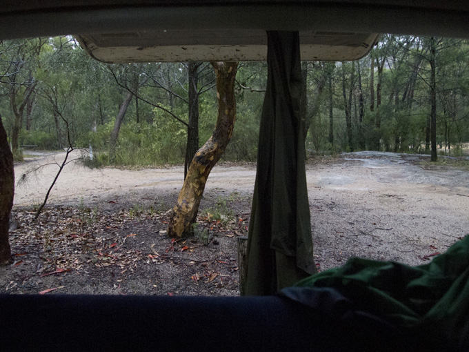 Girraween in the rain - Rear view from the Tarago