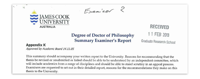 Examiner report on phd thesis