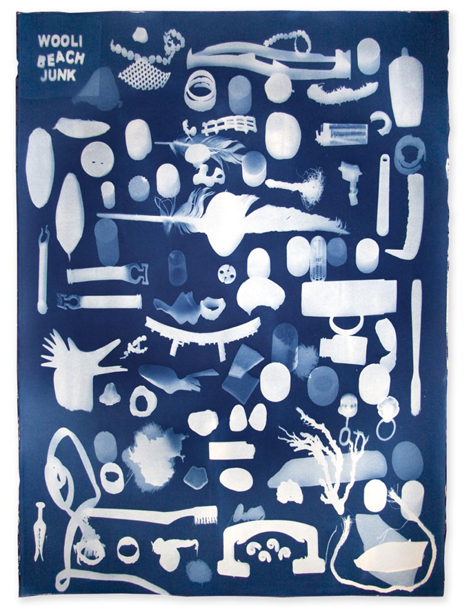 'A cyanotype by Doug Spowart 'Wooli Beach Junk'