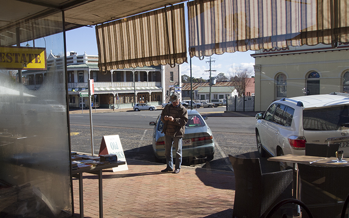 The main street of Uralla as seen from Burnett's cafe