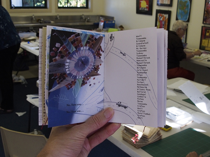 Two pages from inside the book – Artists Survey #15  NOMAD: Journeying for Art