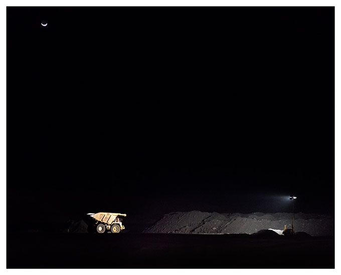 From the 'Extraction' series Coal mining in the Central Queensland region is a 24-hour operation.  Night shift in a Bowen Basin coal mine near Mooranbah (Poitrel).