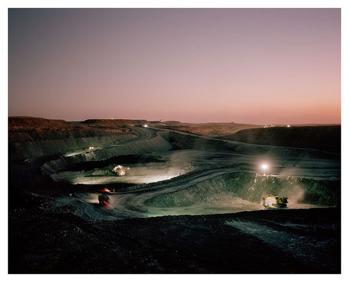 From the 'Extraction' series Coal mining in the Central Queensland region is a 24-hour operation.  The night shift begins in a Bowen Basin coal mine near Mooranbah (Moorvale).
