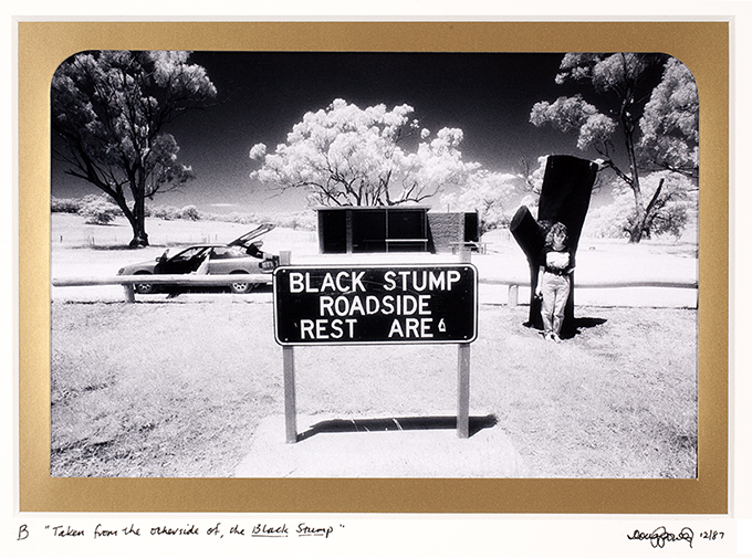 B  The Black Stump. It was once believed that the black stump was the limit of possible human habitation beyond which nothing existed but useless land and desert.  Today, it's revered by a roadside stop featuring a Black Stump storyboard and black painted stump icon, a car park, BBQ and toilet.  And lots of people have come to live on 'the other side'.  Near Coolah, New South Wales.