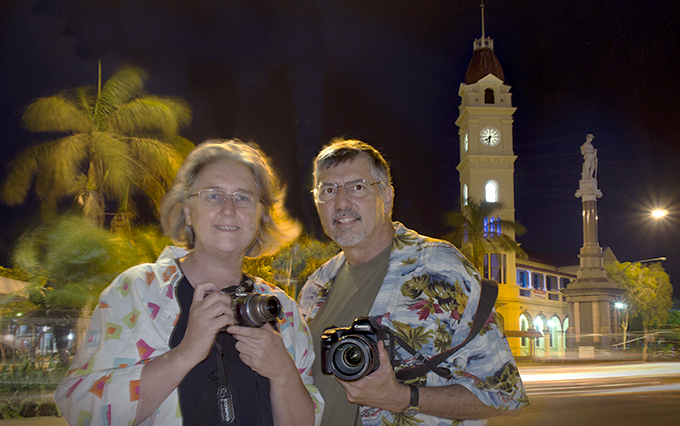 Vicky and Doug go tropical (shirts anyway) in Bundaberg