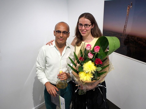 QCP Director Maurice Ortega and Deputy Director Camilla Birkeland with presentation flowers at the opening