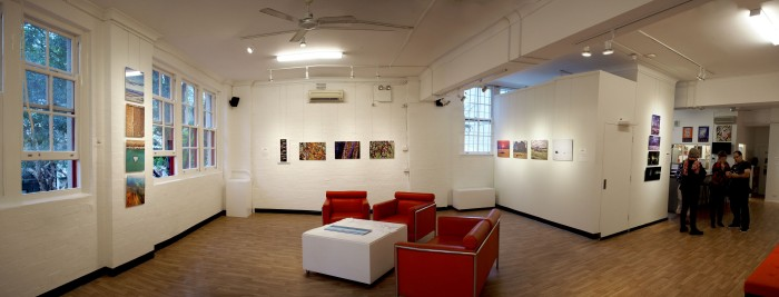 The exhibition 'Around the world in 14 days' in the Pine Street Gallery