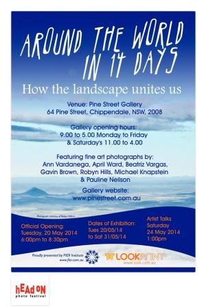 The exhibition 'Around the world in 14 days' invitation