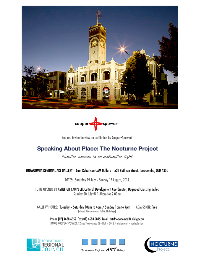 Exhibition invitation featuring the Toowoomba Town Hall Xmas 2012