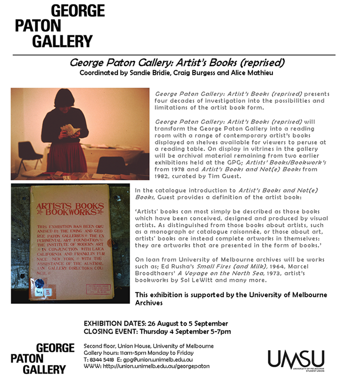 GEORGE PATON GALLERY: Artist's Books (reprised) Exhibition (2/6)