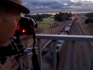 Photographing a coal train from the Bell Street bridge