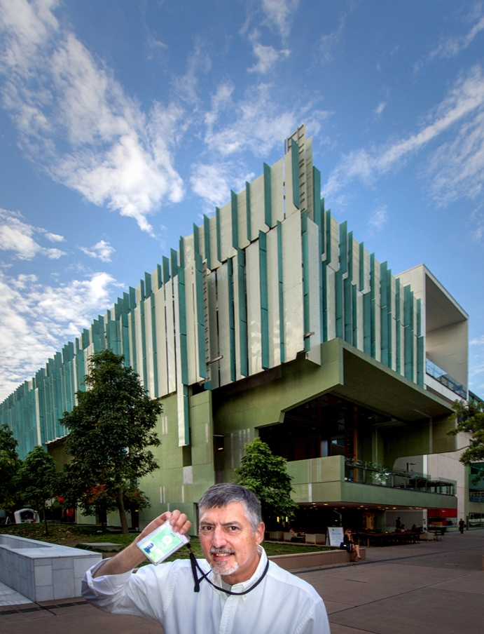 Doug Spowart at the SLQ with his Security pass