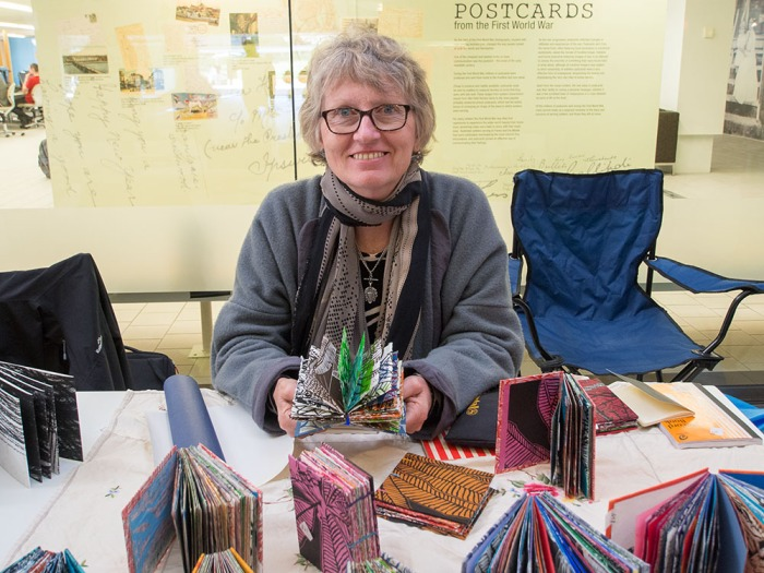 Sue Poggioli at the Artists' Book Fair