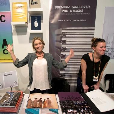 Libby Jeffery MomentoPro after a long day at Volume Art Book Fair Sydney