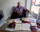 Sandy Barrie and the Art Union journal featuring a Henry Fox Talbot print Photo: Doug Spowart