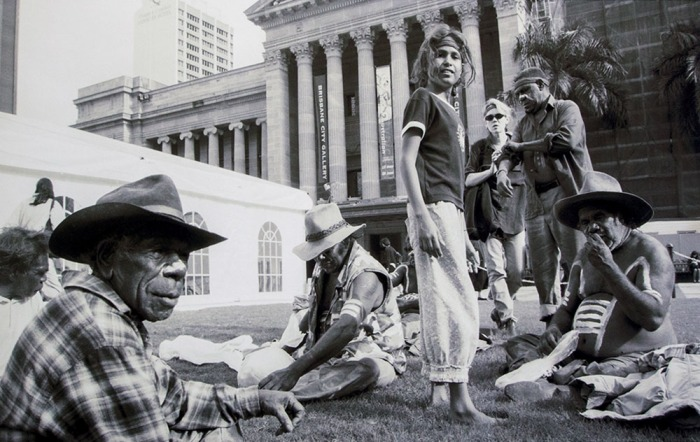 "PHOTO: Jo-Anne Driessens. ""William Sandy, Paddy Carroll, Dicky Brown, Alice Eather, Michael Nelson, and Two Bob Jungari at the Dar Festival King George Square, Brisbane, 1998"""