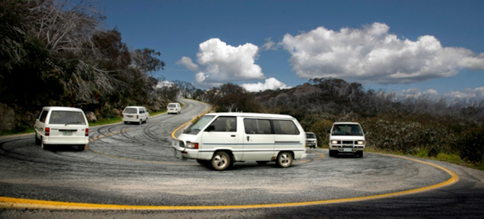 Negotiating a hairpin bend at Mt Buffalo, Victoria