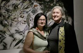 Renata Buziak and Victoria at the opening of Buziak's 'Medicinal Plant Cycles'