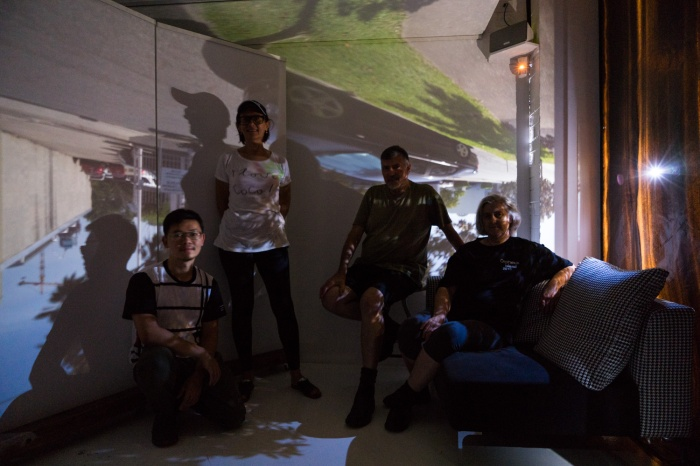 The Maud camera obscura team – Louis Lim, Doug+Vicky with Maud Director Irena Prikryl. PHOTO: Louis Lim
