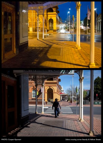 Nocturne Armidale: Zebra crossing - Beardy Mall PHOTO: Cooper+Spowart