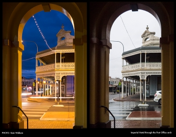 PHOTO: Sam Walkom – Imperial Hotel through the Post Office's arches DUO