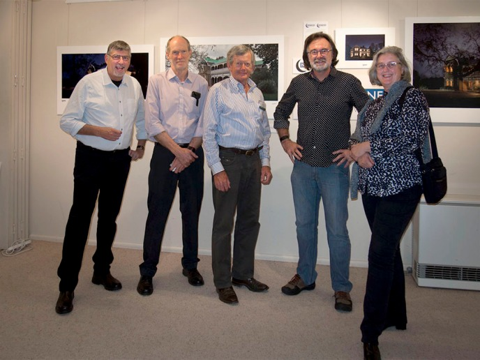 With Terry Cooke, Les Davis and Neil Burton at the opening of the Saumarez show
