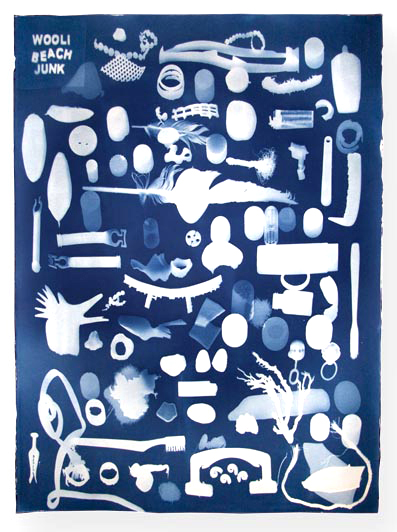 Wooli Beach Junk a cyanotype by Doug Spowart