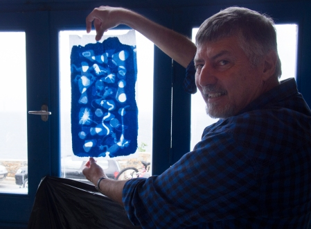 Doug with his cyanotype transparency at the Skopelos Greece workshop