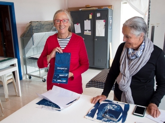 Felicity shows her Skopelos cloth book
