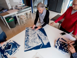 Robynne show her lace blouse cyanotype