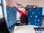 Steph Bolt with some of her full sheet prints at the Skopelos Workshop Photo DougSpowart