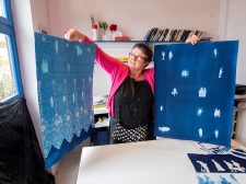 Steph Bolt with some of her full sheet prints at the Skopelos Workshop Photo Doug Spowart