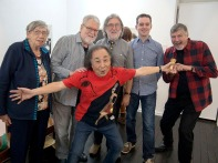 Ian Poole, Glen, Ruby, Asai, Ben and Doug at the opening of Floating