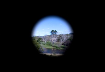 View of Bundanon Homestead through the camera obscura hole