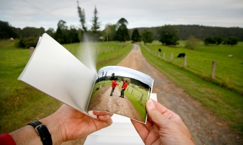 Performing the flip book 'Nacissus meets himself on the way to Bundanon'