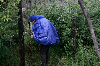 Vicky looking for the river in the rain at Bundanon