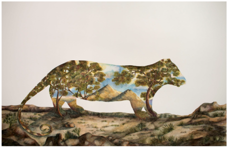 Anna Glynn 'Landscape within an Opossum of Van Dieman's Land 1777 and a nod to Glover' 2018 90 x 120cm