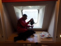 Beginning the porthole blackout of the camera obscura on the Spirit of Tasmania ferry