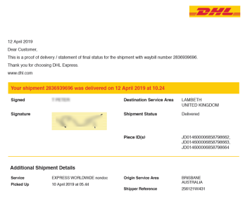Pack and Send - DHL Delivery Proof