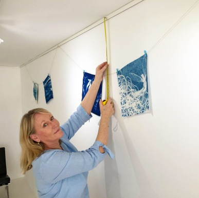 Gail Neumann hanging the 'Under the southern sun' cyanotype exhibition at The Maud Street Photo Gallery