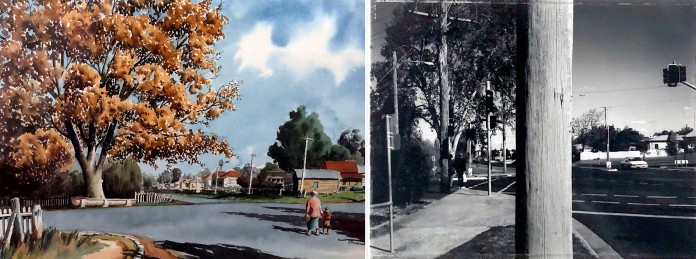 Rephotography project for Toowoomba Regional Art Gallery: Don Featherstone 'Golden Tree' 1959 – Spowart+Cooper Corner of Kitchener & Herries Streets 1996
