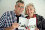 Vicky + Doug with the catalogue for the Heart&Soul exhibition by Jacklyn and Peter PHOTO: PtereDerrett