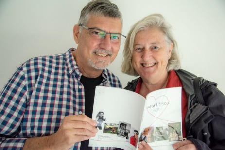 Vicky + Doug with the catalogue for the Heart&Soul exhibition by Jacklyn and Peter PHOTO: Peter Derret
