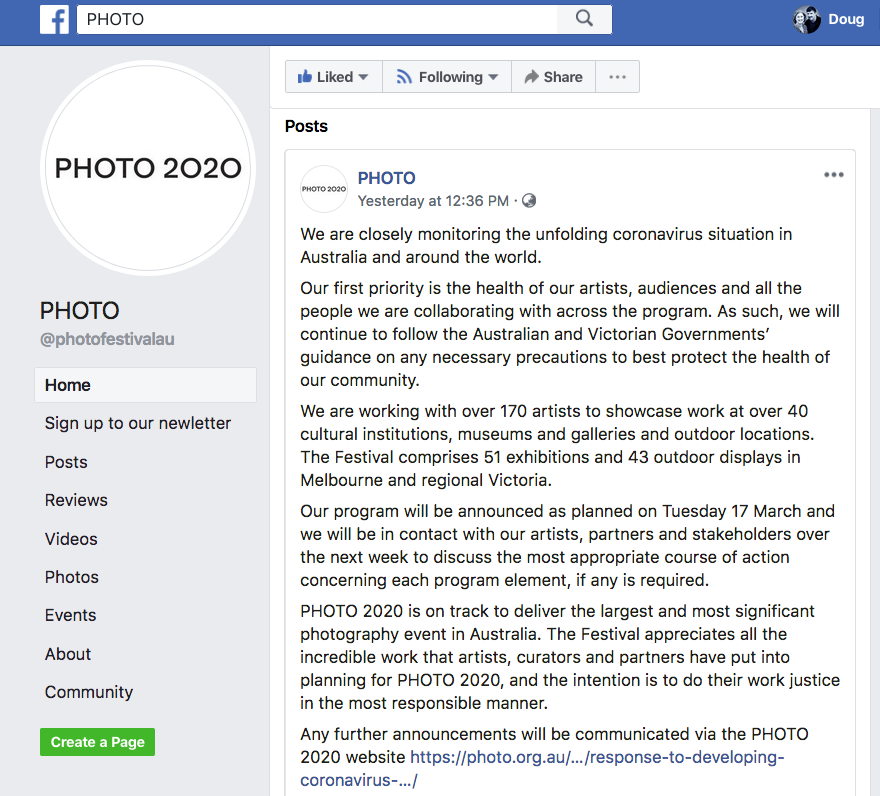 March 15, 2020 post on the PHOTO 2020 Facebook page