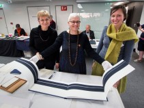 ABBE Artists Book Fair 2015 l-r Christene Drewe+Helen Cole+Diedrie Brollo