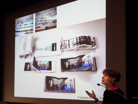 Helen Douglas presenting her Siganto Foundation Artists' Book Lecture March 2017
